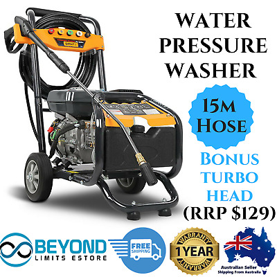 210cc Petrol High Pressure Washer Cleaner 207 Bar Water 8HP Gurney 15m Hose