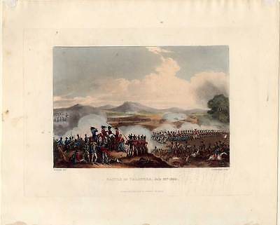 BATTLE of TALAVERA-Spanien-Napoleon-Krieg-Schlacht-Aquatinta 1815