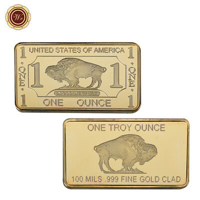 WR 1Troy Ounce .99 Fine Gold Clad Ingot US American Buffalo 100 Mills Bar Design