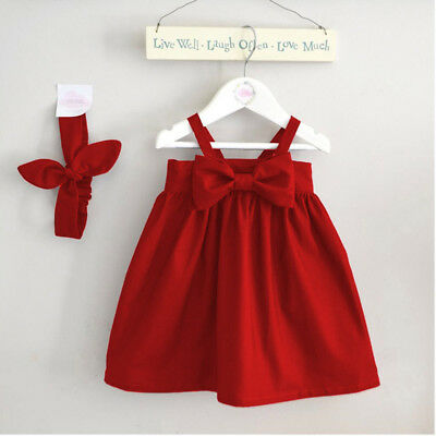 Newborn Infant Baby Girl Kid Red Dresses Summer Sundress Big Bowknot Short Dress