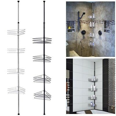 4 Tier Metal Telescopic Shelf Wall Corner Bathroom Caddy Storage Bath Shower