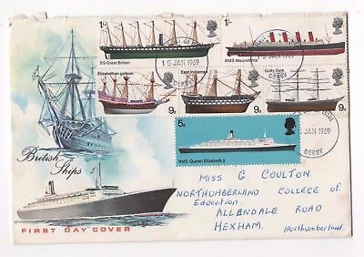 Great Britain first day cover. 15 Jan 1969 British Ships