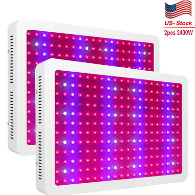 2PCS 2400W LED Grow Light Hydro Full Spectrum Hydroponic Indoor Veg Bloom Plant