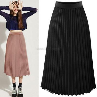 Women Long Pleated Skirt Chiffon Elastic Waist Swing Flared Skater Midi Skirt