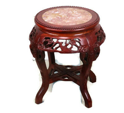Ornate Carved Wood Marble Top Rosewood Plant Stand Round Side Table Gorgeous