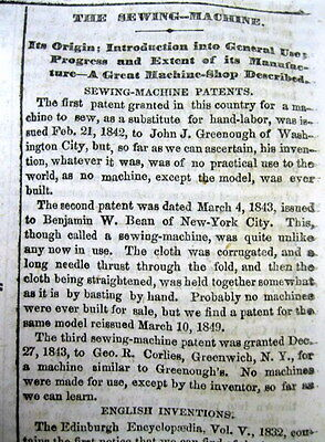 1862 newspaper w BEST long detailed report of INVENTION of the SEWING MACHINE