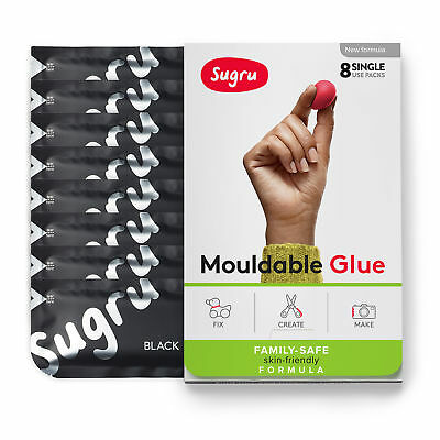 Sugru Mouldable Glue - Family-Safe | Skin-Friendly Formula - Black (8-pack)