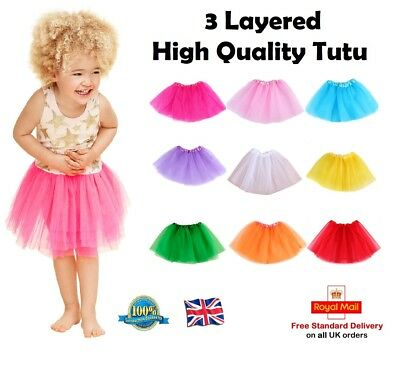 GIRLS 3 LAYERED Plain Colour Tutu Skirts Book Day Fancy Dress Ballet Costume UK