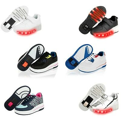 Kids Girls Boys Wheels Skate Lace up Sports Light upTrainers Pumps Shoes Size