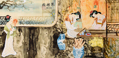 Antique beauty&book-ORIGINAL ASIAN ART CHINESE FAMOUS FIGURE WATERCOLOR PAINTING