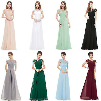 Long Chiffon Lace Evening Formal Evening Party Prom Bridesmaid Dresses Size 6~20