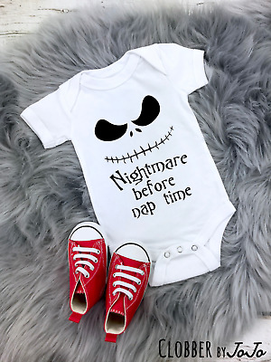 Nightmare Before Nap Time Funny Baby Vest Gift Halloween Christmas baby shower