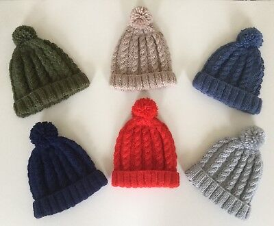 Hand Knitted Cosy Hats For Little Boys - Cable Design With Pompom - 1-3 Years