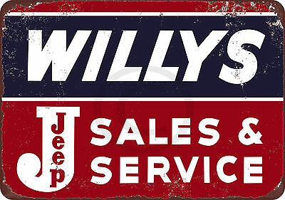 Willys Jeep Sales and Service Vintage Look Reproduction Metal Sign 8 x 12
