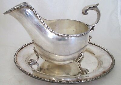 Antique Georgian Sheffield Silverplate Gravy Sauce Boat With Oval Under Plate