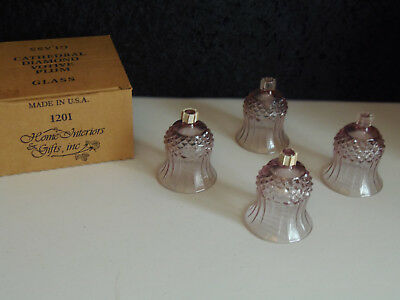 Home Interiors Cathedral Diamond Plum Votive Glass Candle Holder  Set Of 4 Homco