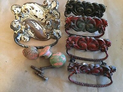 Vintage Shabby, Fancy Victorian Drawer Pull Lot of 9