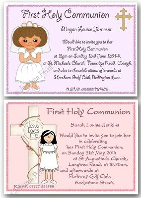 personalised 1st first holy communion invitations girl pink lilac