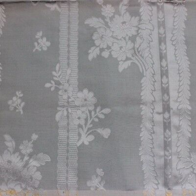 "Lovely French 19thC Antique Ice Blue Silk Damask Fabric Home Sample~27""LX25""W"
