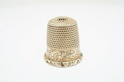 10K Yellow Gold Vintage Thimble With Filigree Design Size 8