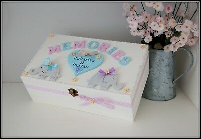 New Twins Gift Elephant Keepsake Box Wooden Memory Box Christening Baptism Gift