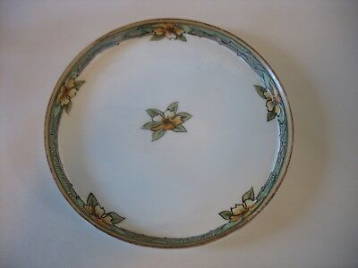 "Vintage Nippon Pin Tray or Dish 7"" Arts & Crafts Floral Earth tones Handpainted"