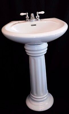 Vintage Style Bathroom Sink & Pedestal Set-White Sink with Flowers, Faucet/Parts