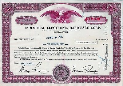 Industrial Electronic Hardware Corp., New York, 1975 (150 Shares)