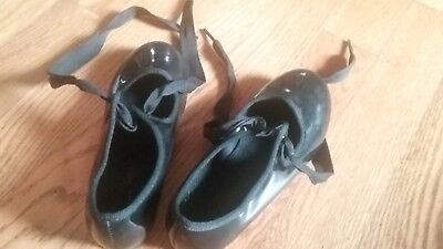 Girl's toddler Dance Class black tap shoes size 9 1/2 preowned, good condition