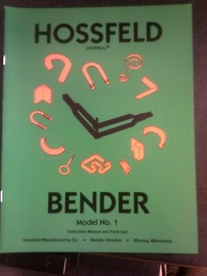 #1 Hossfeld Bender Instruction Owners Manual Universal Pipe Tube Tubing Die NO 1