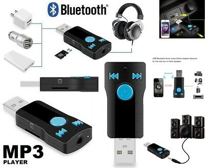 Wireless USB Bluetooth 3.5mm AUX Audio Stereo Music Home Car Receiver Adapter UK