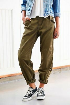 Italian Army Women Combat Trousers Military Cargo Work Pants Vintage Olive Green