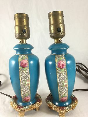 Pair of Vintage Painted Ceramic Porcelain Table Bedroom Lamps Blue Floral