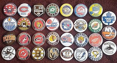 National Hockey League NHL Button Badges x 31. Pins Wholesale Collector Bargain.