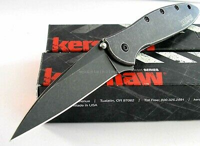 Kershaw USA Leek BLACKWASH 1660BLKW 1660BWWM Speed Assisted Opening Knife CLAM