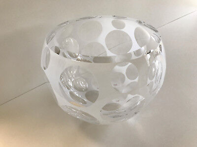 Moser Copernicus Decorative Hand Cut Cased Crystal Bowl Clear/White 9.8 Inch Dia