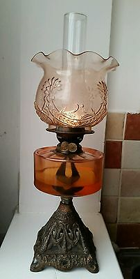 Antique Victorian Gilt Cast Iron Base Duplex Oil Lamp with Amber etched Shade