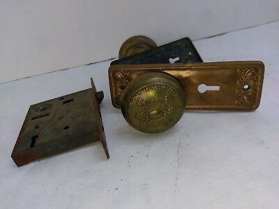 Antique Victorian Eastlake Ornate Copper Brass Door Knobs hardware set