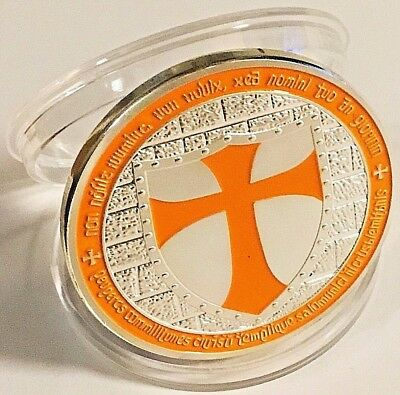 KNIGHTS TEMPLAR CROSS COIN IN PROTECTIVE ACRYLIC CASE fast shipping!!!!