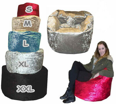 Crushed Velvet beanbag kids Adults Bean Bag Gaming Chair filled lined MADE IN UK