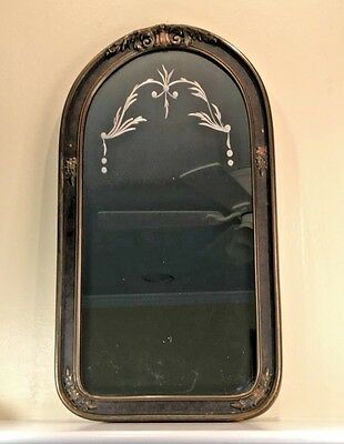 "1920s-30s Gesso Floral Wood Framed Etched Mirror 26 3/4"" x 14 3/4"""