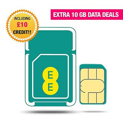 EE 4G Trio SIM Card Preloaded With 10GB  Data for 30 Days/£10 credit including