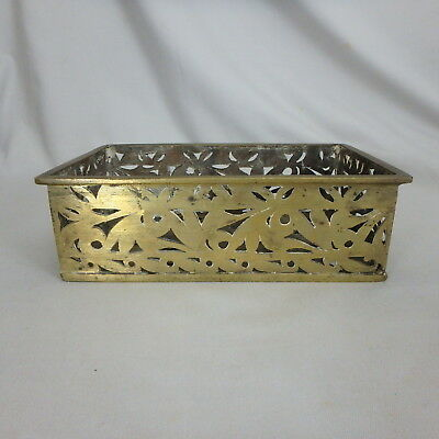 """Antique Vtg Heavy Solid Brass Pierced Box, Tray, Holder, 8-3/4"""" by 5-1/4"""" by 2-3"""