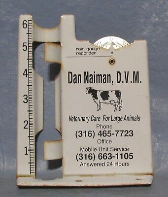 Vintage Advertising Metal Rain Gauge Dairy Cow Veterinary Care For Large Animals