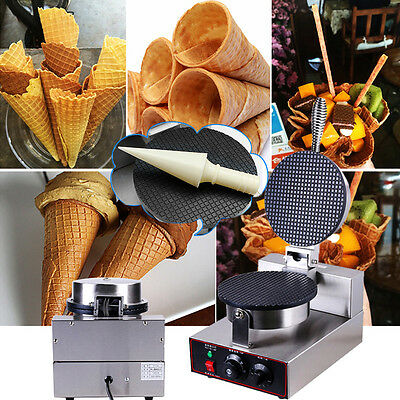 Commercial Electric Nonstick Regular Ice Cream Waffle Cone Maker Baker Machine·