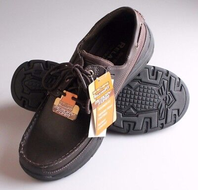 Skechers Mens Expected Gembel Relaxed Fit Dark Brown Memory Foam Boat Shoes NW