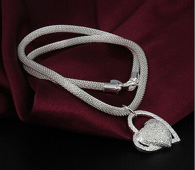 Women FASHION Double Heart Silver Charm Pendant chain Necklace Girl Jewelry Gift