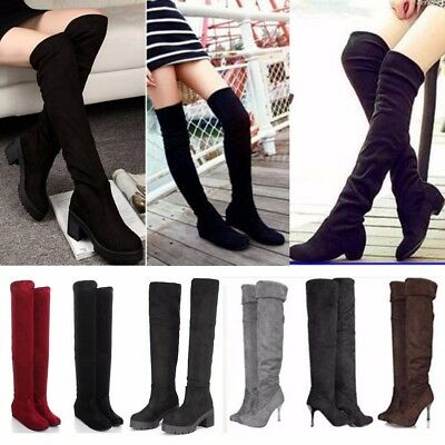 Sexy Femme Cuissardes Talons Haut Bottes Bottines Genou Plateforme Hiver  Chaud bfb30baddbfd