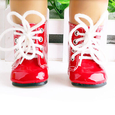 Cute red PU leather boot shoes for 18inch doll party Kids toys.