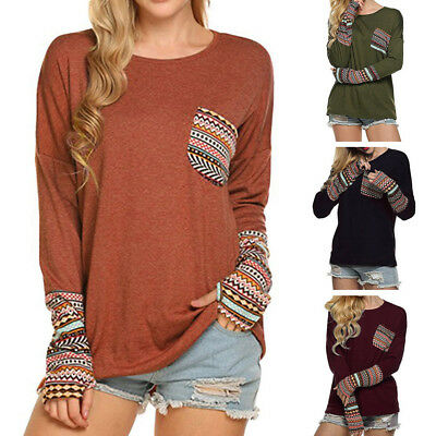 Boho Retro Women's Patchwork Long Sleeve Casual Loose T-shirts With Thumb Holes
